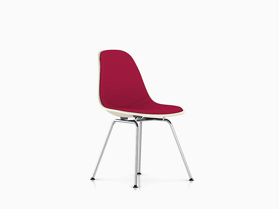 Eames Molded Fiberglass Side Chair, 4-Leg Base, Upholstered