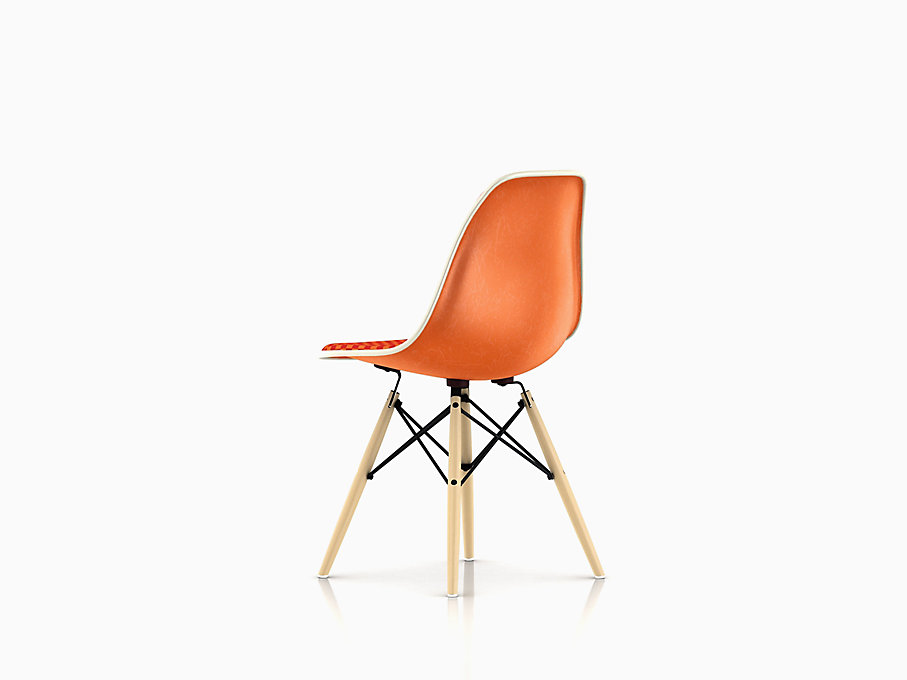 Eames Molded Fiberglass Side Chair, Dowel Base, Upholstered
