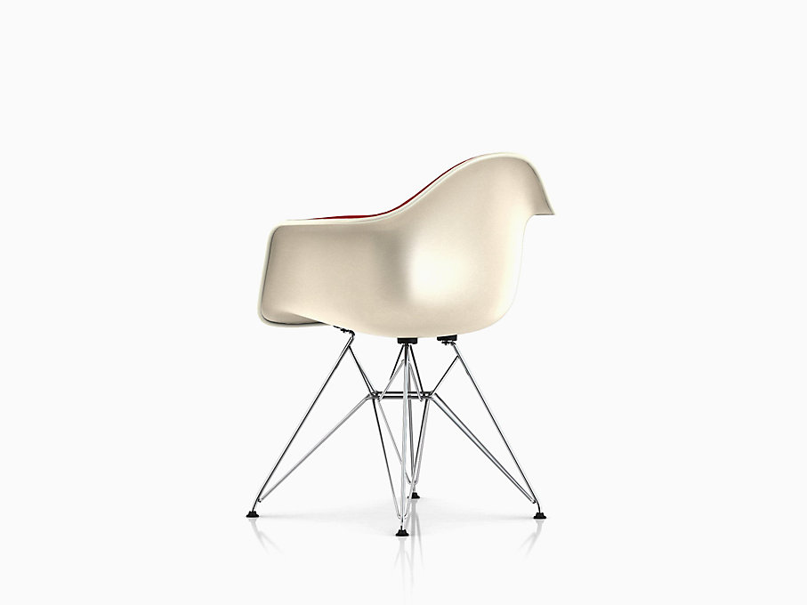 Eames Molded Fiberglass Armchair, Wire Base, Upholstered