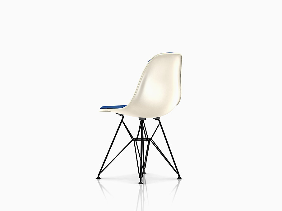 Eames Molded Fiberglass Side Chair, Wire Base, Upholstered