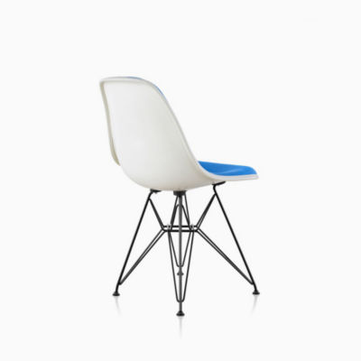 Eames Molded Fiberglass Side Chair Wire Base Upholstered