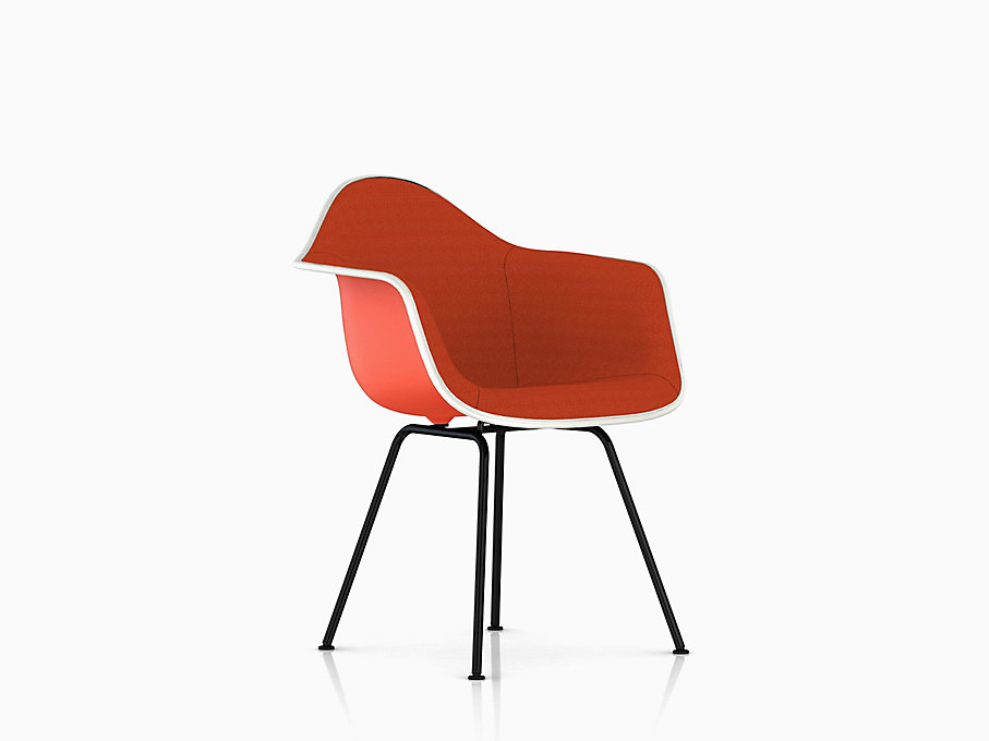 Eames Molded Plastic Armchair, 4-Leg Base, Upholstered