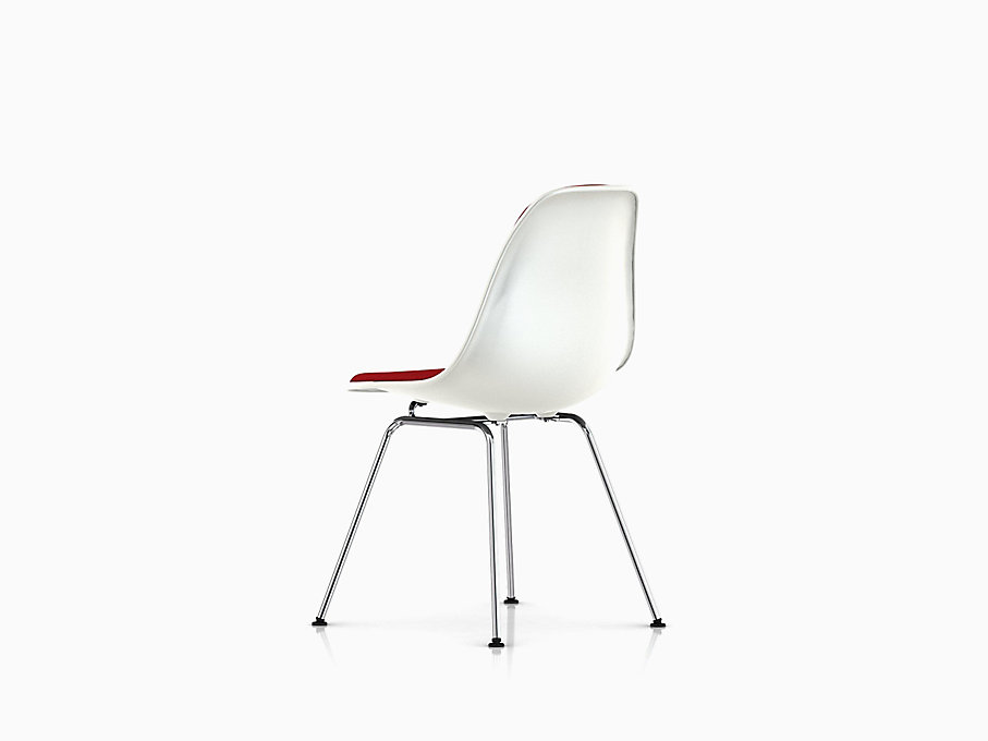Eames Molded Plastic Side Chair 4-Leg Base Upholstered