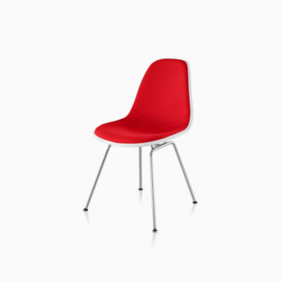 Eames Upholstered Molded Plastic Side Chair - 4 Leg Base