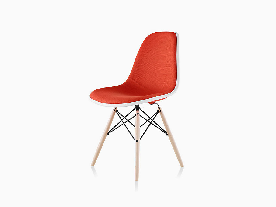Eames Molded Plastic Side Chair Dowel Base Upholstered