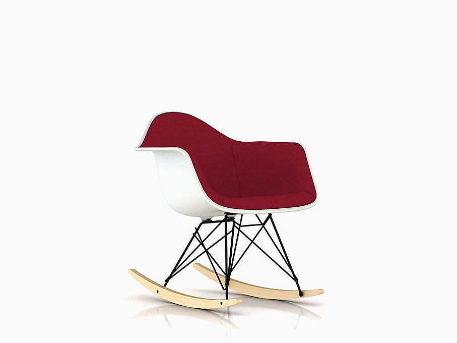 Eames Molded Plastic Armchair, Rocker Base, Upholstered