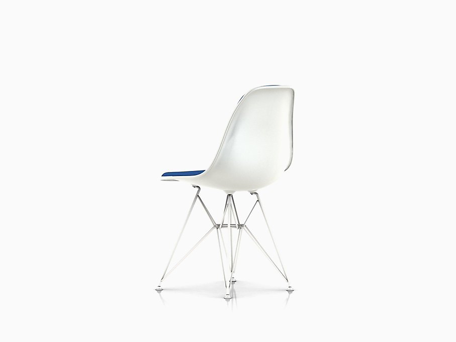 Eames Molded Plastic Side Chair, Wire Base, Upholstered