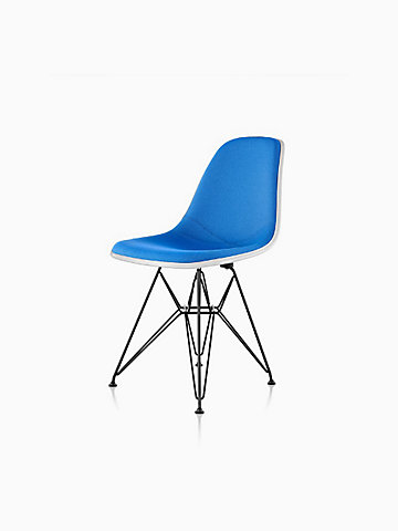 Eames Molded Plastic Side Chair Upholstered - Wire Leg