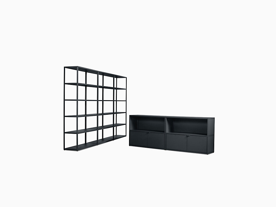 New Order Set - Media Unit + High Triple Bookshelf