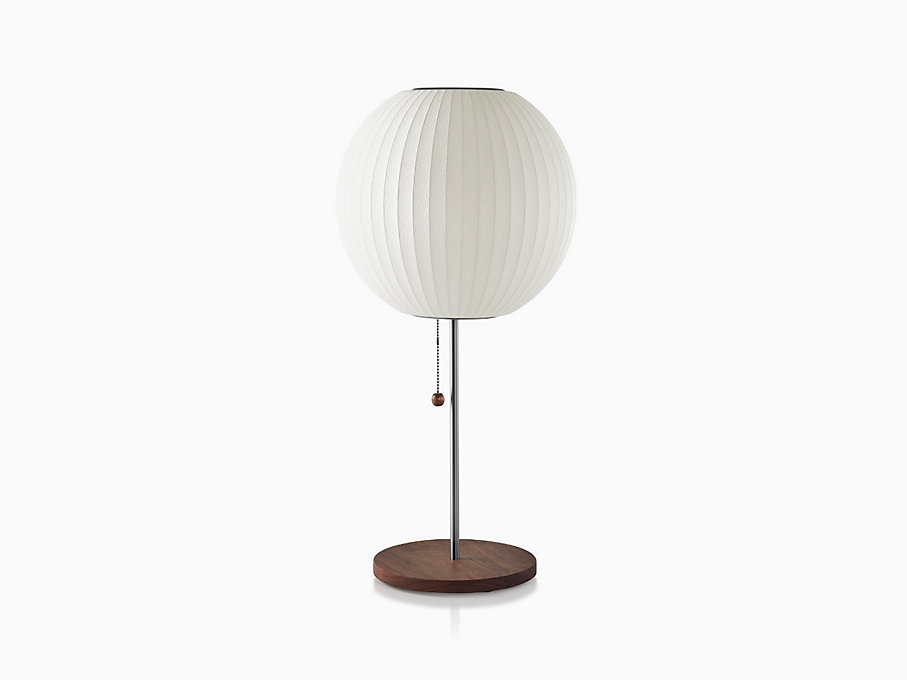 Nelson Ball Lotus Table Lamp, Walnut Base