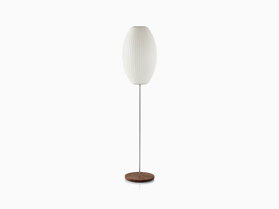 Nelson Cigar Lotus Floor Lamp, Walnut Base