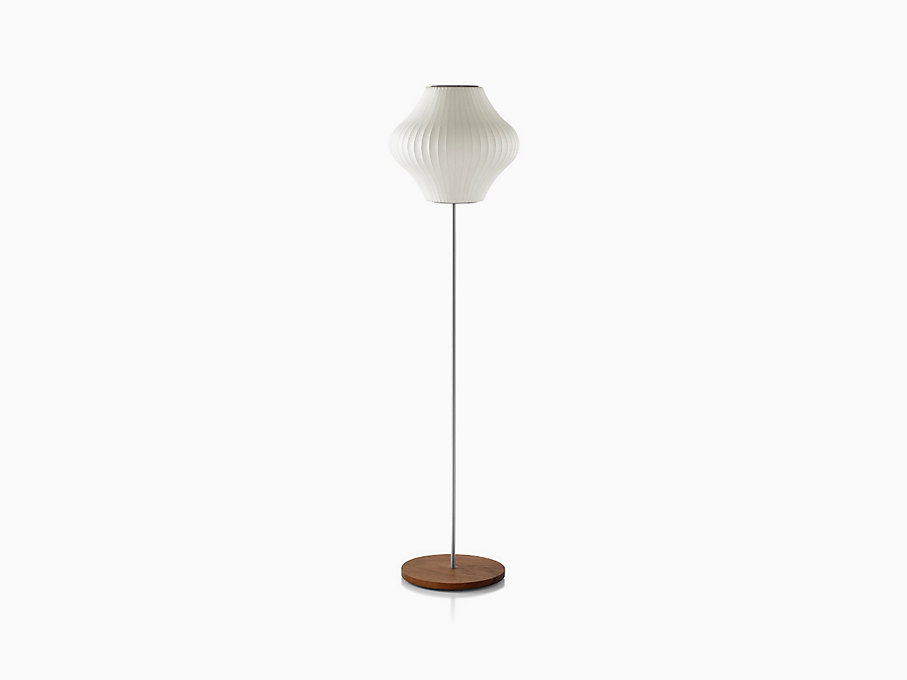 Nelson Pear Floor Lamp, Walnut Base