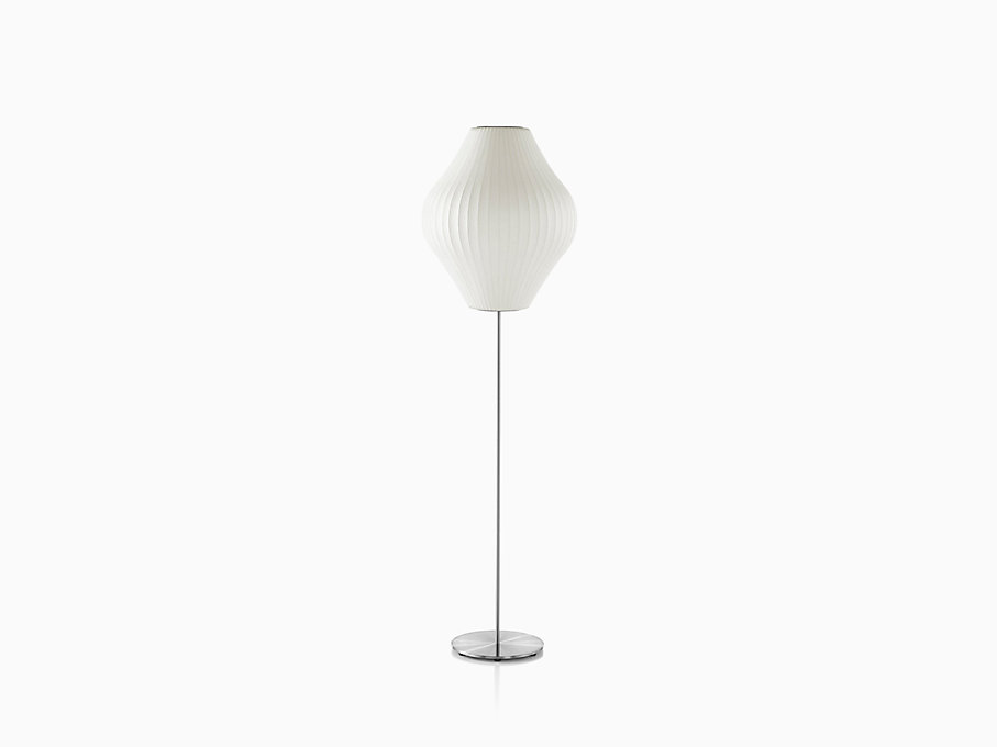 Nelson Pear Lotus Floor Lamp, Brushed Base