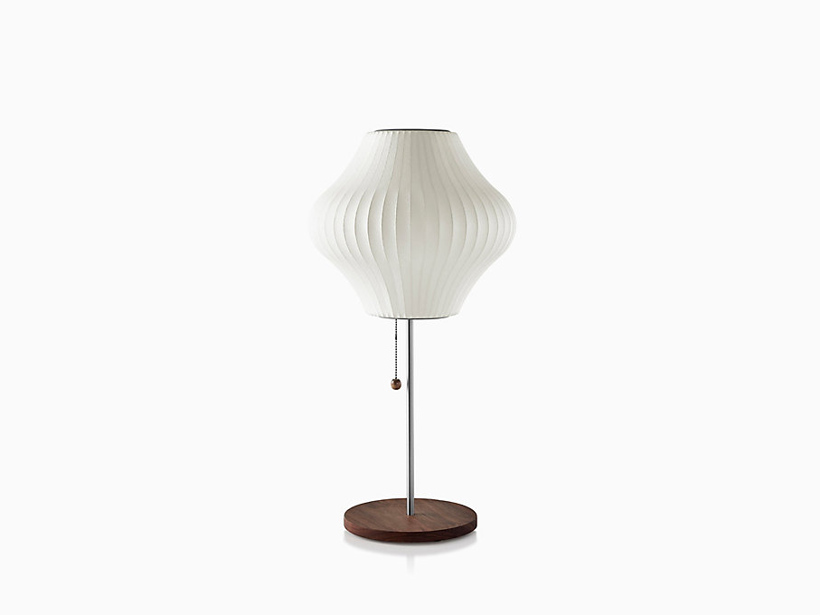 Nelson Pear Lotus Table Lamp, Walnut Base