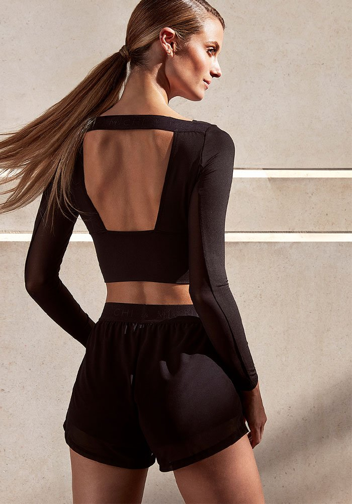 Holt Renfrew Image of Michi. Rally Long-Sleeve Cropped Top. $200.