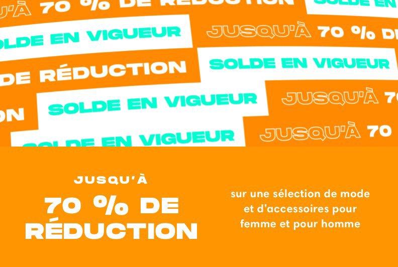 Jusqu'à 70 percent de réduction sur une sélection de mode et d'accessoires pour femme et pour homme