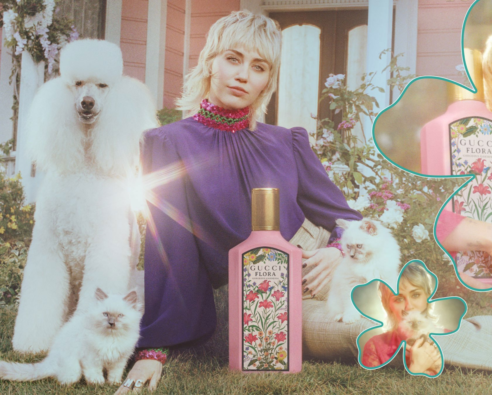 Miley Cyrus sits on a front lawn with flower bushes and is surrounded by a poodle, Persian kittens and oversized fragrance bottle.