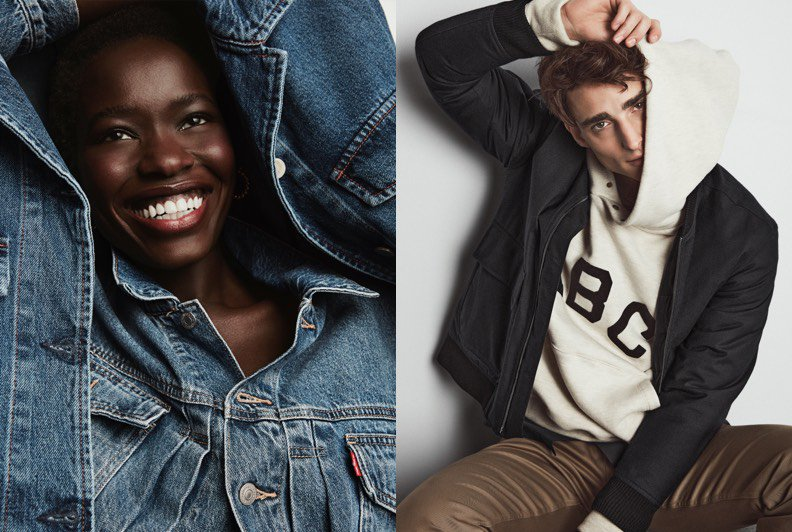 Two images, one of a female model wearing a denim jacket and holding another one over her head, the other of a male model wearing  hodie and bomber jacket.