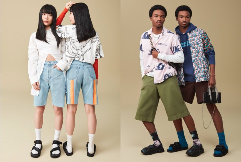 Two sets of twins dressed in personality-filled '90s-inspired fashion and accessories.