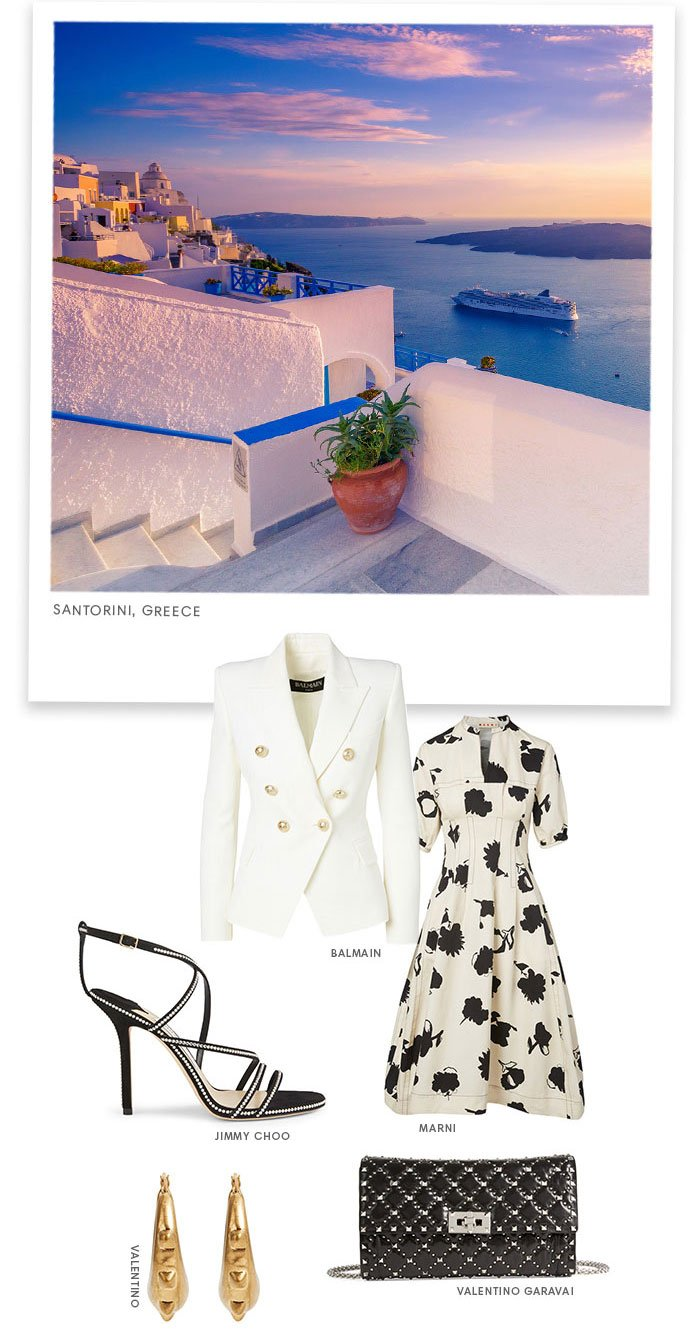 Holt Renfrew Image of Santorini, Greece. Balmain. Jimmy Choo. Marni. Valentino.