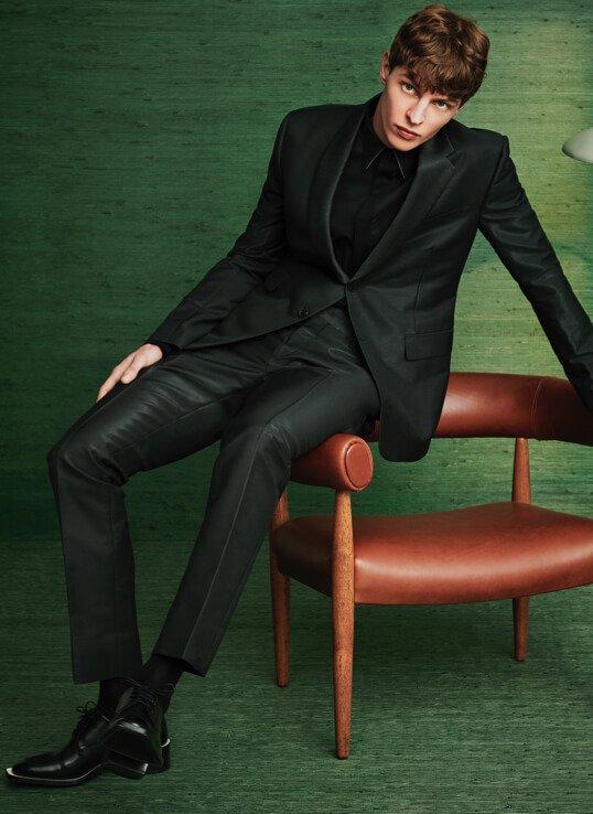 Gabardine Jacket. Price Upon Request. Gabardine Trouser. Price Upon Request. Karligraphy Cuban Heel Shoe.