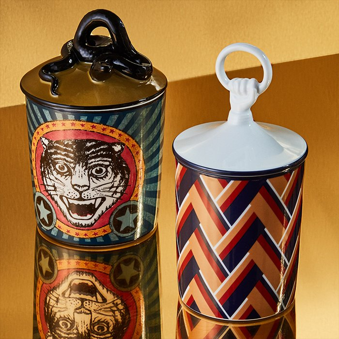 Holt Renfrew image of Day 12. GUCCI DÉCOR Soave Amore Candle In Blue Multicolour Print. $945. Hand Porcelain Candle In Navy, Red, And Beige Print. $370. LEARN MORE