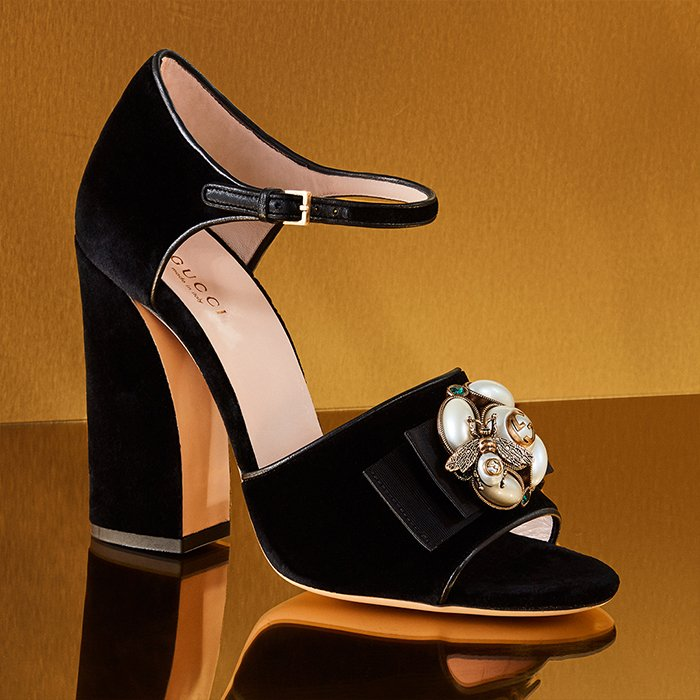 Holt Renfrew image of Day 16. GUCCI Étoile Velvet Mules With Bee Detail. $1370. SHOP NOW