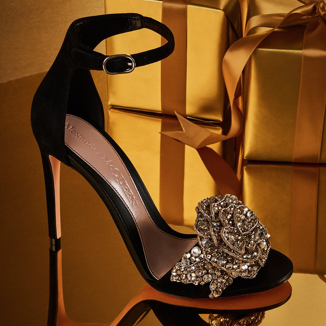 Holt Renfrew image of Day 21. ALEXANDER MCQUEEN Sandal With Crystal Peony. $1,710. SHOP NOW
