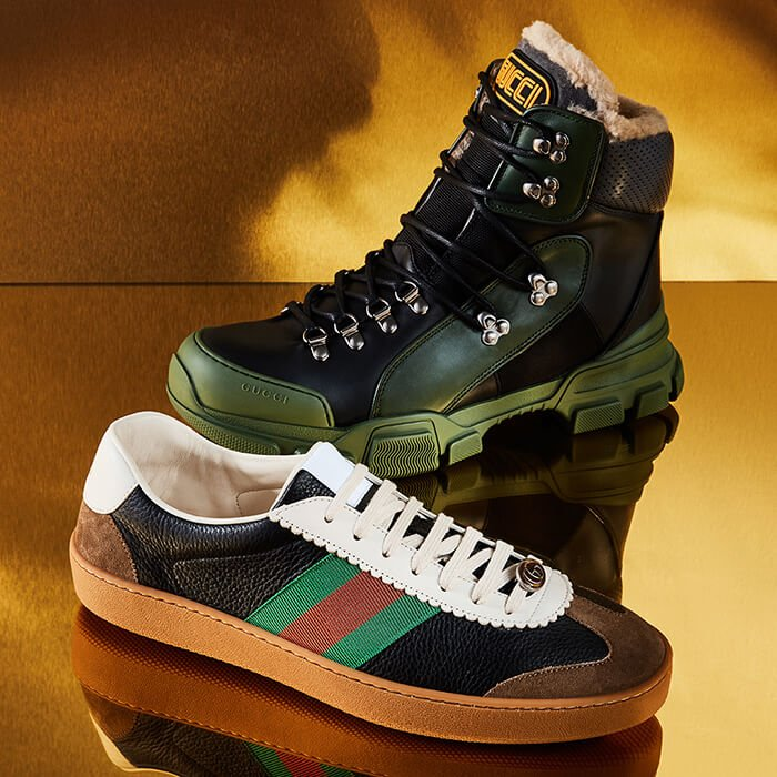 Holt Renfrew image of Day 23. GUCCI Flashtrek High-Top Sneakers With Wool. $1640. G74 Leather Sneakers With Web. $775. SHOP NOW.