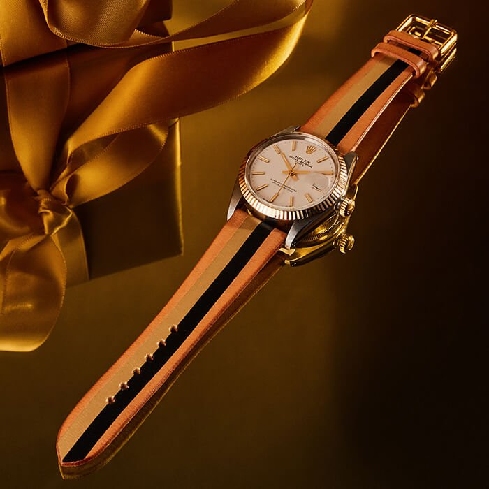 Holt Renfrew image of Day 29. LA CALIFORNIENNE Rolex Oyster Perpetual Date Leather Strap Watch. $10,625. SHOP NOW