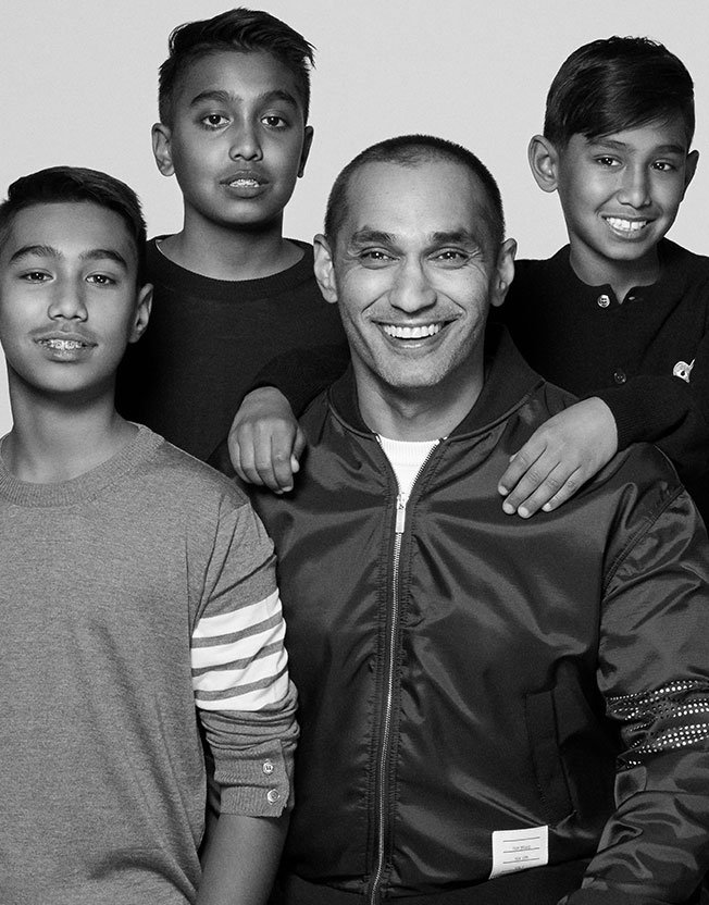 Holt Renfrew image of Arif Dhirani, VP, Financial Planning & Analysis And Business Control, with his sons