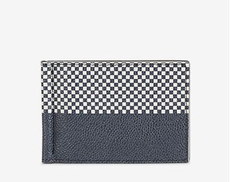 Holt Renfrew image of THOM BROWNE. Leather Wallet With Money Clip In Plaid Print. $550. SHOP NOW