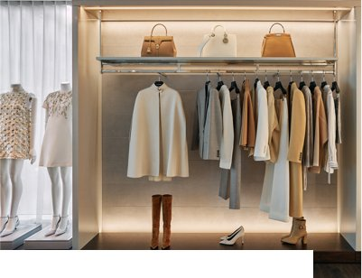 Placard avec vêtements pour femmes, sacs à main et chaussures