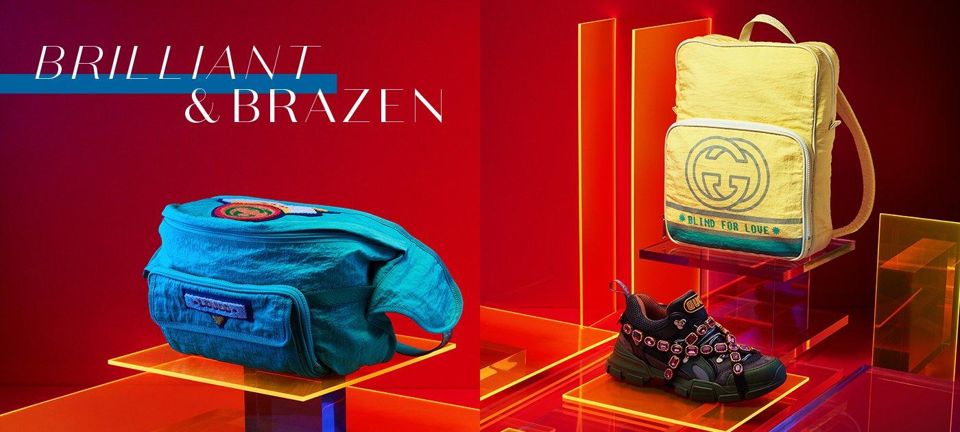 Holt Renfrew Image of GUCCI belt bag. $1605. Flashtrek sneaker. $1890. Backpack. $1310.