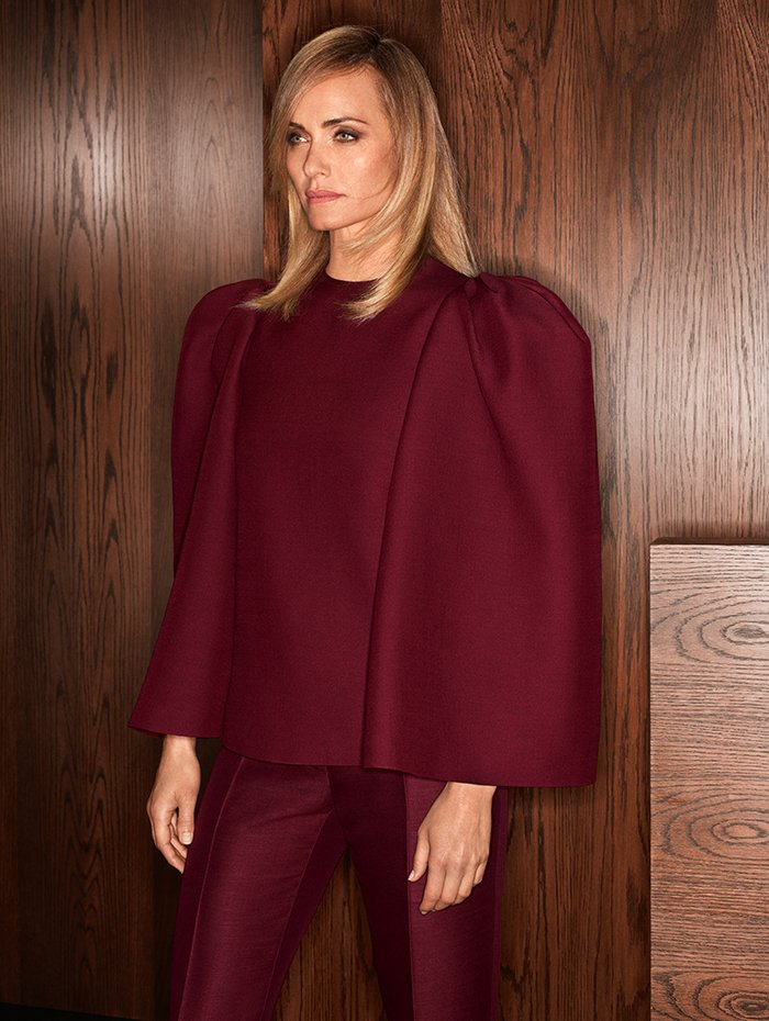 Holt Renfrew Image of VALENTINO Crêpe top with exaggerated shoulder. $2620. Mohair pant. $1680. Both in red wine.