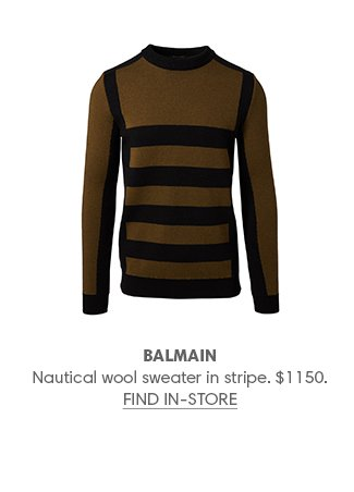 Holt Renfrew image of BALMAIN Nautical wool sweater in stripe. $1150. FIND IN-STORE
