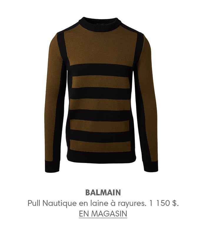 Holt Renfrew image d'un BALMAIN Pull Nautique en laine à rayures. 1 150 $. EN MAGASIN