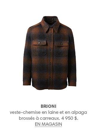 BRIONI veste-chemise en laine et en alpaga brossés à carreaux. 4 950 $. EN MAGASIN