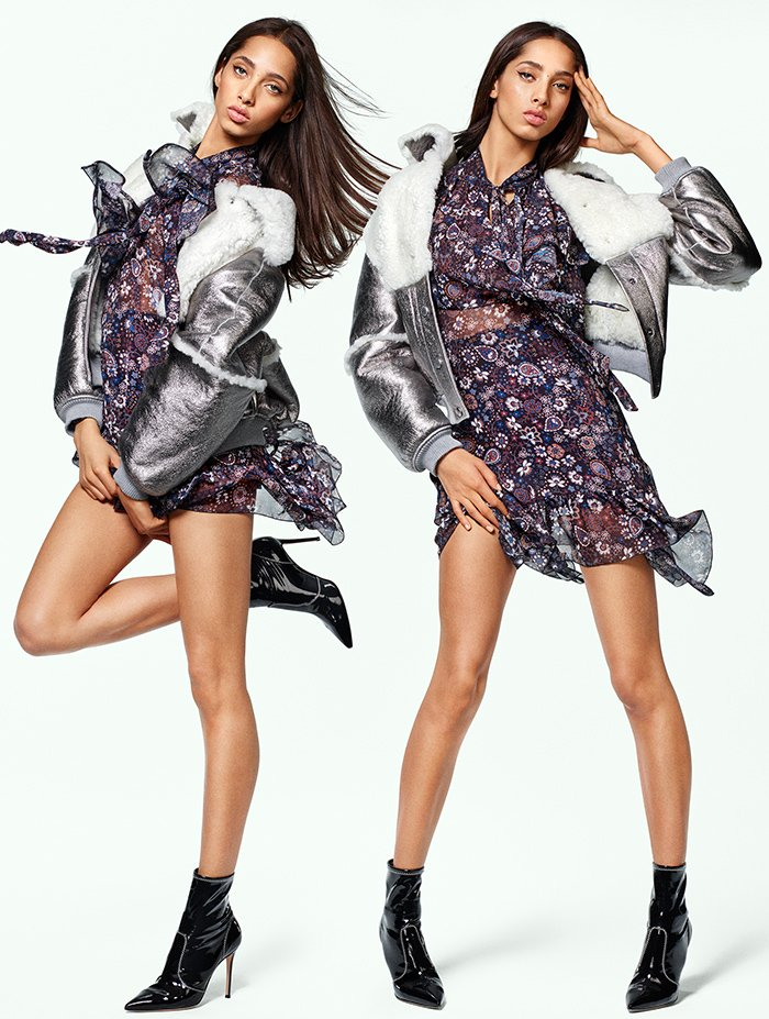 Holt Renfrew image of SEE BY CHLOÉ metallic shearling bomber. $2985. Georgette dress in micro paisley print. $820.
