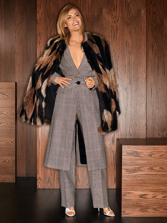 Holt Renfrew Image of GIVENCHY Faux fur coat in black and camel. $4375.