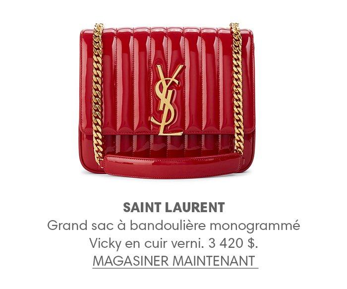 Holt Renfrew image d'un SAINT LAURENT PARIS Grand sac à bandoulière monogrammé Vicky en cuir verni. 3 420 $. MAGASINER MAINTENANT