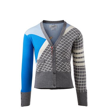 Holt Renfrew image of THOM BROWNE Four Bar Cashmere Poolside Intarsia Cardigan. $2470.