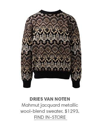 Holt Renfrew image of DRIES VAN NOTEN Mahmut jacquard metallic wool-blend sweater. $1293. FIND IN-STORE