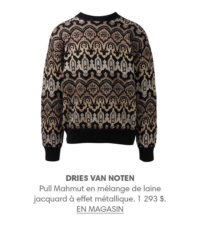 Holt Renfrew image d'un DRIES VAN NOTEN Pull Mahmut en mélange de laine jacquard à effet métallique. 1 293 $. EN MAGASIN