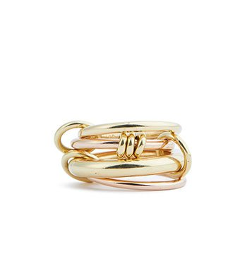 Holt Renfrew image of SPINELLI KILCOLLIN Aries 18K Yellow And Rose Gold Stacked Ring. $4800.