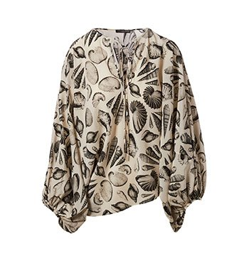 Holt Renfrew image of ALEXANDER MCQUEEN Silk Crepe De Chine Blouse In Shell Print. $2170.