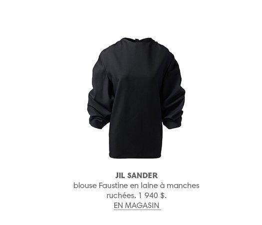 JIL SANDER blouse Faustine en laine à manches ruchées. 1 940 $. EN MAGASIN