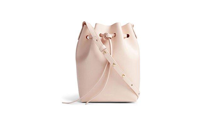 Holt Renfrew image of Holts Exclusive MANSUR GAVRIEL Mini Saffiano Leather Bucket Bag. $685. SHOP NOW