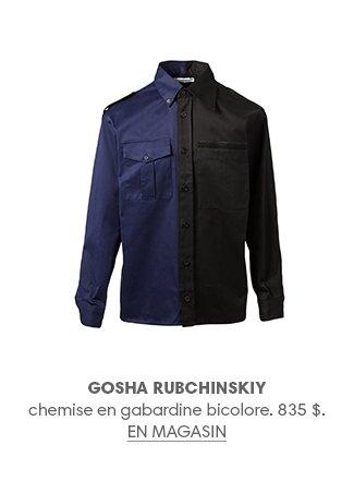 GOSHA RUBCHINSKIY chemise en gabardine bicolore. 835 $. EN MAGASIN