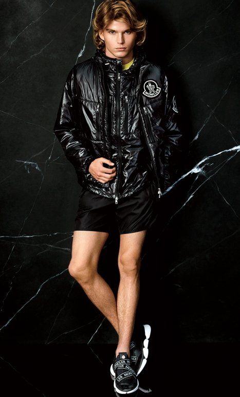Holt Renfrew Image of 2 MONCLER 52 Lafond jacket. $1845. Available in neon. Fournier vest. $1295. Short. $330. All in black nylon. Bakery strap sneaker. $770. SHOP NOW.
